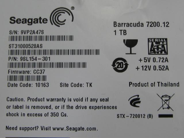 Seagate 1TB 7200 - failed drive