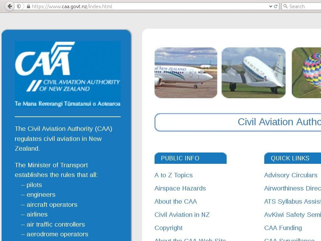 CAA web site
